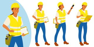 Building inspector woman poses set for infographics or advertisement royalty free illustration