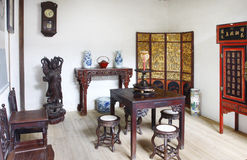 Building interior of Chinese old house. With wooden table and chair Stock Photo