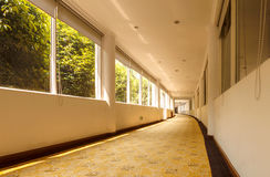 Building interior corridor. This is a long corridor inside the hotel Royalty Free Stock Image