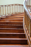 Building interior empty room design staircase wooden. Wooden handrails royalty free stock photography