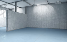 Building interior, unoccupied. 3d building interior with white brick walls and blue flooring without furnishing Royalty Free Stock Photography