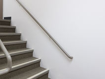 Building interior white staircase with handrails Stock Photos
