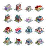 Building Isometric Icons Set Stock Image