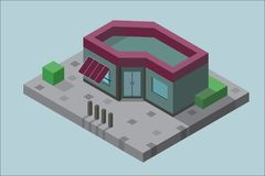 The building in isometric view with the vegetation on the concrete. Isometric building blue red green with vegetation and shadows on the sidewalk stock illustration