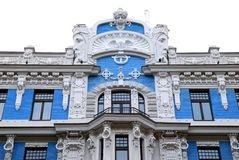 Building in jugendstyle (Art Nouveau). Old building in jugendstyle (Art Nouveau) in Riga, Latvia. Isolated stock images
