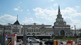 The building of the Kazan railway station in Moscow stock footage