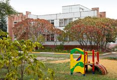 Building of kindergarten and playground Royalty Free Stock Image