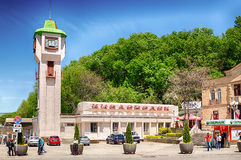 Building of the Kislovodsk railway station. KISLOVODSK, RUSSIA - MAY 20 2015: Building of the Kislovodsk railway station stock photography