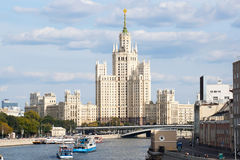 Building on Kotelnicheskaya Embankment.Moscow. View of the high-rise building in downtown Moscow.Pleasure boats on the river Stock Photos