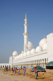 Building Labor at Sheikh Zayed Mosque Stock Image