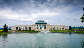 Building at the lake. Building on the lake at Hershey garden stock photo