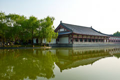 The building on the lakeside landscape xian Royalty Free Stock Photo