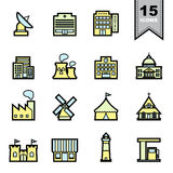 Building and Landmark Line icons set Royalty Free Stock Image
