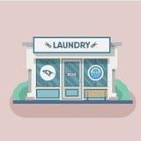Building laundry flat design. Washing mashine. Stock Photography