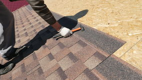 Free Building. Laying A Soft Roof. Stock Photography - 92364212