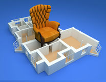 Building layout with large chair Royalty Free Stock Image