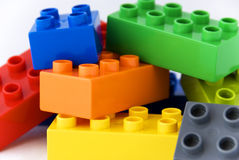 Building lego blocks stock photos