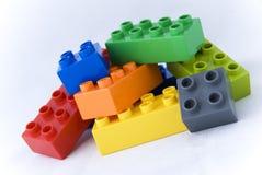 Building lego blocks stock photos