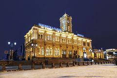 The building of the Leningrad station on Komsomolskaya square in the winter evening. Moscow Stock Images