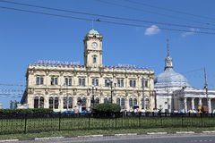Building of the Leningradsky railway station-- is one of the nine main railway stations of Moscow, Russia Stock Photos