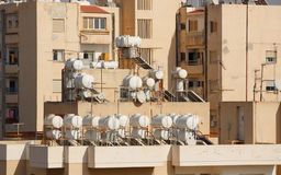 Building in Limassol. Old building with water tanks in Limassol, Cyprus Stock Photos