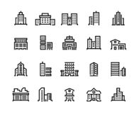 Building line icons. Business center with offices, municipal buildings, school and hospital. City constructions symbols stock illustration