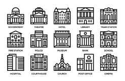 Building line icons set. Royalty Free Stock Image