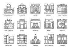 Building line icons set. Stock Images