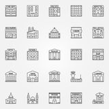 Building line vector icons royalty free illustration