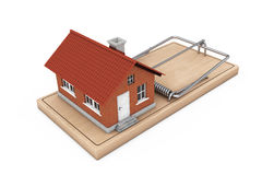 Building Loan Concept. House Building over Wooden Mousetrap. 3d Stock Image