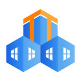 Building logo. Illustration of building logo design isolated on white background Stock Photo