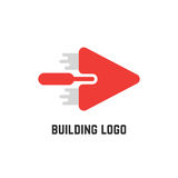 Building logo with red trowel Stock Images
