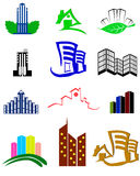 Building logos and icons. Set of building logos and icons stock illustration