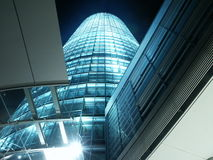 Building with lots of glass. Bussiness Building at night Royalty Free Stock Photography