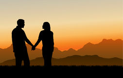 Building Loving Relationships (Sunset). Love, communication and relationships with a beautiful mountain sunset setting. Vector Illustration Royalty Free Stock Photo