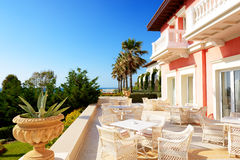 The building of luxury hotel in Greek style stock photography