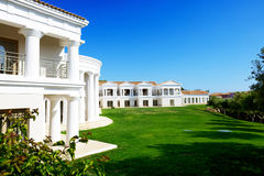 The building of luxury hotel in traditional Greek style royalty free stock photography