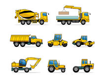 Building machines. Set of 12 machines on white background Royalty Free Stock Image