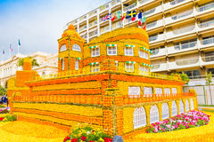 Building made of lemons and oranges in the famous carnival of Me. Nton, France. Fete du Citron stock images