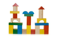 Building made by wooden blocks Royalty Free Stock Photos
