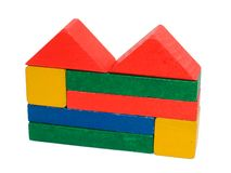 Building made of wooden blocks toy. Isolated with path on whiIsolated with path on white, toy, children, smalcolored wooden blocks.  stock photos