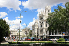 Building of the Main Post Office on the Plaza Cibeles May 10, 2013, in Madrid, Spain. Royalty Free Stock Photos