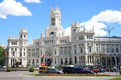 Building of the Main Post Office on the Plaza Cibeles May 10, 2013, in Madrid, Spain. Building is designed by the Otamendi and Palasmosa in 1919 Royalty Free Stock Image