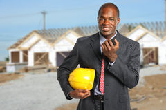 Building Manager at Construction Site Stock Image