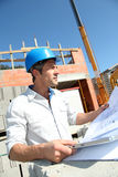 Building manager on site Royalty Free Stock Image