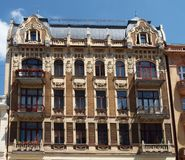The building manufacturer. The historic building of the nineteenth century, a remnant of one of the owners of factories of cotton from the time of the Stock Photography