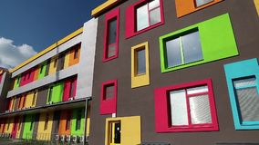 Building with many-coloured windows Royalty Free Stock Photography