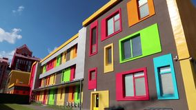 Building with many-coloured windows. New building with many-coloured windows stock video
