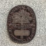 Building Marker designating Property is on the National Register of Historical Places.  stock photography