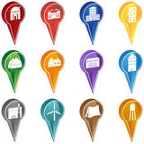 Building Marker Icons. Set of 12 3D building icons used as marking points Stock Illustration